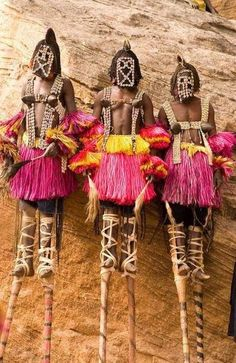 Dogon people. The Dogon are an ethnic group living in the central plateau region of the country of Mali, in the West of the Continent of Africa, south of the Niger bend, near the city of Bandiagara, in the Mopti region. The population numbers between 400,000 and 800,000. The Dogon are best known for their religious traditions, their mask dances, wooden sculpture and their architecture. #Dogon #Dogons #Mali #Malian #masks #mask #stilts