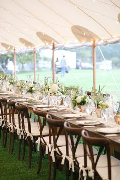 Whitney Weeks and Doug Pickett's Wedding:     One of the long farm tables, set and ready for guests. Photo: Lucy Cuneo