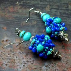 """Lapis"" earrings - Superuno beads, firepolished beads, TOHO and Matsuno seed beads Bead Weaving, Seed Beads, Beadwork, Beading, Beaded Bracelets, Earrings, Jewelry, Boucle D'oreille, Locs"