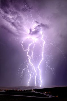 """Lightning strikes (more storm pins on my Shared Group Board """" Cloudy Days and St… Ride The Lightning, Thunder And Lightning, Lightning Strikes, Lightning Storms, Purple Lightning, Lightning Flash, All Nature, Amazing Nature, Science Nature"""