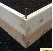 overlapping metal pin detail raised bed
