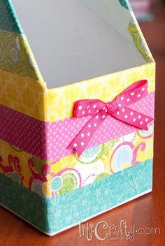 Washi Tape Inspired Mod Podge Paper Organizer