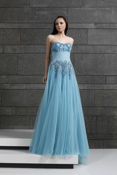 Style 31 I Maya Blue Sweetheart shaped strapless evening gown in embroidered Tulle, corseted with wires