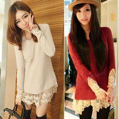 Korean Girl Slim Vintage Lace Hem Sweater Stitching Off Knitting Wool Clothes | eBay