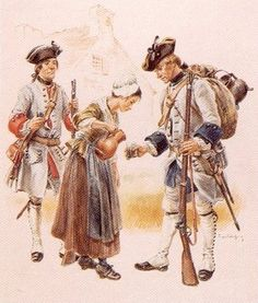 "Soldiers, French régiment de la Reine and régiment de Languedoc, circa 1756 - ""These French soldiers of the régiment de La Reine (left) and régiment de Languedoc (right) wear a special Canadian version of their regimental uniform. When units of the troupes de la Terre (the French metropolitan army) were sent to New France in 1755, they were issued with uniforms more suitable for colonial service, made to specifications from the Ministère de la Marine."""