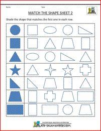 Shape Matching for Kindergarten Match the Shape 2