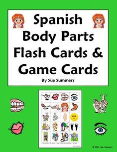Spanish Body Parts Flashcards and Game Cards by Sue Summers - 20 different body parts - El Cuerpo