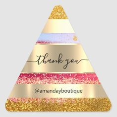 Thank You Shopping Custom Glitter Gold Triangle Triangle Sticker Anniversary Party Favors, Wedding Anniversary, Bridal Shower Favors, Boutique Shop, Different Shapes, Business Supplies, Custom Stickers, Gold Glitter, Keep It Cleaner