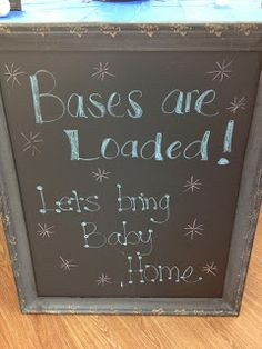 Chalk board for baseball baby shower. Baby number 3 is on the way