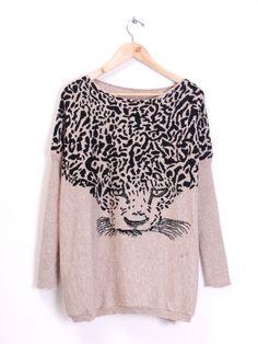 Leopard Knitted Sweater in Khaki