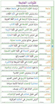 Arabic Vocabulary: The University