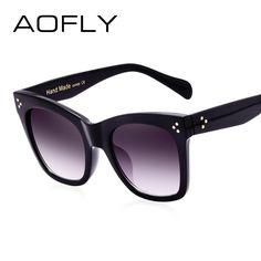 b6b7cdd693d AOFLY 2017 Fashion Vintage Rivet Glasses Sunglasses Women