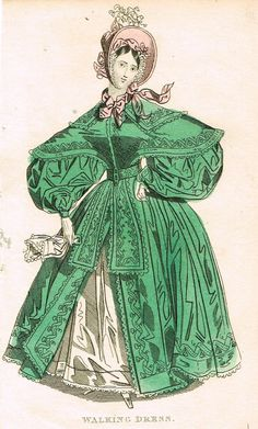 "Lady's Cabinet Fashion Plate - ""WALKING DRESS (GREEN)"" - Hand-Colored Engraving - 1840"