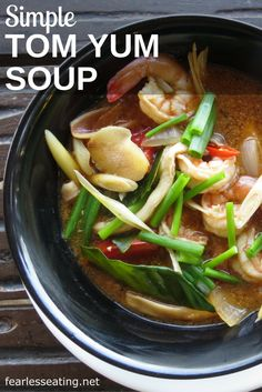 This simple tom yum soup comes straight from Thailand. Tom yum is a hot and sour soup made with Thai herbs and spices as well as bird's eye chilies.