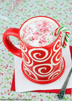 Peppermint Hot White Chocolate #hotchocolate #cocoa #recipe