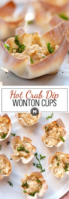 Hot crab dip spiced with Old Bay seasoning, shallot, and just a dash of hot sauce. Baked into a crispy wonton cup. Wonton Appetizers, Finger Food Appetizers, Appetizer Dips, Appetizers For Party, Finger Foods, Appetizer Recipes, Party Appetisers, Wine Appetizers, Easter Recipes
