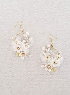 Clay flower circle earrings Creamy blossom and silk flower earrings Style Twigs Honey LLC Circle Earrings, Cute Earrings, Flower Earrings, Diamond Earrings, Drop Earrings, Diamond Stud, Emerald Diamond, Diamond Jewelry, Pandora Earrings
