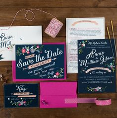 floral wedding invitation by the charming press | notonthehighstreet.com