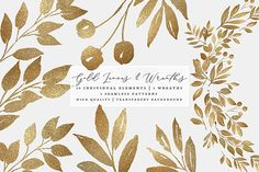 Gold Leaves, Wreaths & Patterns