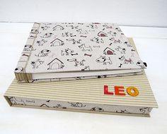 álbum infantil personalizado con caja de protección. encuadernación artesanal.