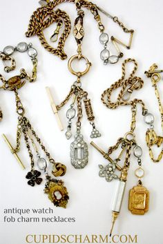 Antique watch fobs. Chsrm necklaces by Cupids Charm.
