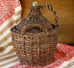 Antique French Demijohn Bottle in Wicker c.1900