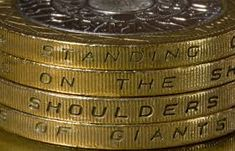 Image result for £2 coin I walk on the shoulders of giants