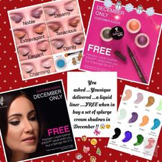 www.charsbeautyboutique.com Decembers Kudos Order by Dec 11th for guarateed delivery before Christmas..... FREE Moodstruck Precision liquid Eye Liner when you purchase any 3 Splurge cream shadows.. please contact me for any more info..
