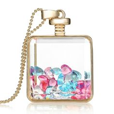 (3.19$)  Buy here - http://aivqg.worlditems.win/all/product.php?id=J0561G-7 - Fashion New Jewelry Romantic Transparent Crystal Glass Square Floating Locket Dried Flower Plant Specimen Golden/Silver Pendant Chain Necklace for Women Girls