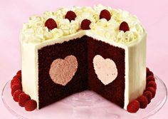 Cute Heart Rasberry Cake Wallpaper