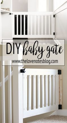 Custom Wooden DIY Baby Gate for Stairs and Hallways is part of diy-home-decor - Make your own DIY custom baby gate to install at the top of stairs or in hallways These baby gates can be customized to fit your space & match your decor Wood Baby Gate, Baby Gate For Stairs, Diy Baby Gate, Baby Gate With Door, Top Of Stairs Gate, Wooden Gates, Wooden Stairs, Custom Baby Gates, Best Baby Gates