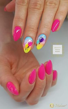 Try some of these designs and give your nails a quick makeover, gallery of unique nail art designs for any season. The best images and creative ideas for your nails. Birthday Nail Designs, Birthday Nail Art, Fall Birthday, Birthday Ideas, Pink Nails, My Nails, Fall Nails, Pink Summer Nails, Raspberry Nails