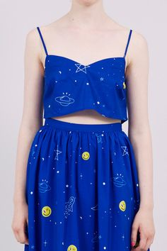 Strappy Crop Top Blue Rocket Print - THE WHITEPEPPER http://www.thewhitepepper.com/collections/new-in/products/strappy-crop-top-blue-rocket-print