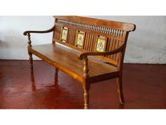 This beautiful piece of woodwork furniture is a testament to the simplistic fusion that comes out of Chettinad and Kerala carpentry. Capable of seating four to five people, this straight backed bench has wood carved handles covering the back, with three p Round Wood Table, Wood Table Rustic, Reclaimed Wood Desk, Teak Wood, Wood Sofa, Wood Furniture, Vintage Furniture, Furniture Ideas, Indian Furniture