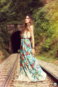 fall spring outfits womens fashion clothes style apparel clothing closet ideas long maxi floral dress