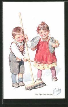 Artiste-AK-Karl-jour-ferie-un-doux-les-enfants-de-la-musique-avec-balais-et-to
