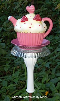 Valentine Cupcake Garden Stake by Garden Whimsies by Mary