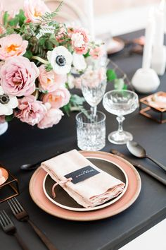 Pink napkin on black and pink plates, Black pink and gold wedding inspiration or rehearsal dinner inspiration, Cavin Elizabeth and Amorology Gold Wedding Colors, Pink And Gold Wedding, Blush And Gold, Floral Wedding, Wedding Flowers, Rehearsal Dinner Inspiration, Wedding Inspiration, Pink Table Settings, Place Settings