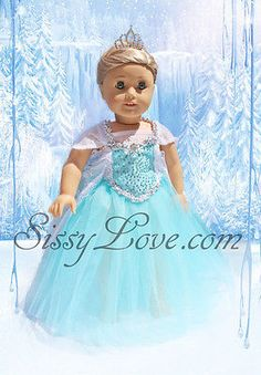 "Frozen Elsa Dress And Tiara Clothes 18"" American Girl Doll Tutu Isabelle Disney"