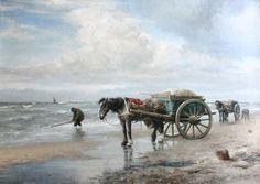 Shell Gathering on Schveningen Beach by Diederik Meesters (Dutch, Dutch Artists, Realism Art, 19th Century, Shells, Fine Art, Beach, Animals, Paintings, Conch Shells