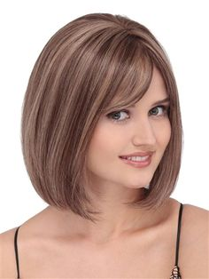 PLF009HM Wig by Louis Ferre: This cute and classic bob with sweeping bangs and face framing style has limitless versatility, natural movement and comfort.