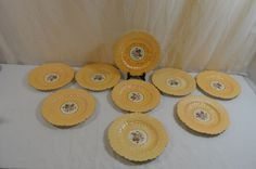 Copeland Spode Set of Nine Luncheon Plates Antique Handpainted