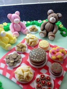 teddy bears' picnic cake - all made of sugar paste