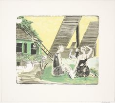 """Rosa Loy. Afternoon with Laika. 2008. Lithograph. composition (irreg.): 14 3/16 x 16 7/8"""" (36 x 42.9 cm); sheet: 20 11/16 x 23"""" (52.6 x 58.4 cm). Gift of Emily Fisher Landau. 32.2009. © 2016 Rosa Loy / Artists Rights Society (ARS), New York / VG Bild-Kunst, Germany. Drawings and Prints"""