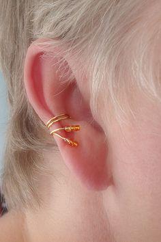 Ear Cuff Pair/Goldtone wire w/Shades of Orange by thelazyleopard, $12.00