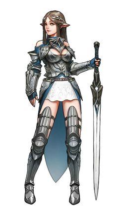 Female Elf Paladin Knight - Pathfinder PFRPG DND D&D d20 fantasy
