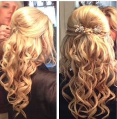 Prom hair - half updo, curly with volume