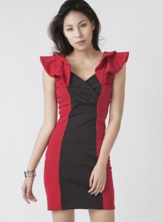 Red and Black Panel Dress with Volume Shoulders,  Dress, panel dress  red and black, Chic