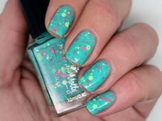 "Emily de Molly Nail polish - ""Bo Peep"" lemon, pink and purple glitter in a light green base"