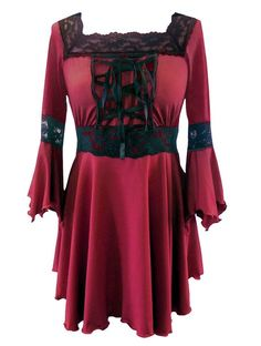 $56 Red - Corset Raven Top Gothic Medieval Long Stretchy Halloween Witch Fancy Dress Sizes 10-12 blk up to 22